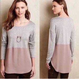 Meadow Rue colorblock grey pink tunic top M